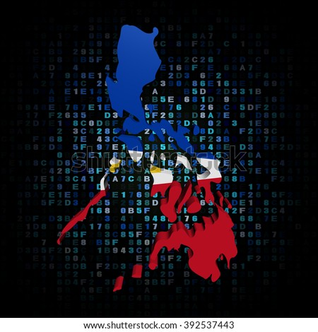 Philippines map flag on hex code illustration - stock photo