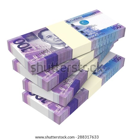 Philippines money isolated on white background. Computer generated 3D photo rendering. - stock photo