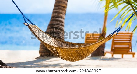 Philippines palawan  beautiful blue sun sea tropical nature background holiday luxury  resort island atoll about coral reef hammock sunbed braided - stock photo
