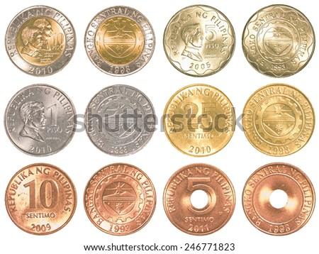 philippines peso coins collection set isolated on white background - stock photo