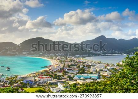 Philipsburg, Sint Maarten, cityscape at the Great Salt Pond. - stock photo