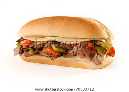 Philly cheesesteak sandwich on white - stock photo