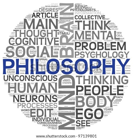 Philosophy concept in word tag cloud on white background - stock photo