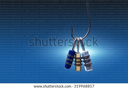 phishing attack on computer system                                 - stock photo