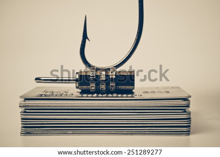 Phishing protection / A fish hook trying to steal credit card data / Credit card data theft protection - stock photo