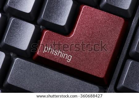 Phishing written on keyboard button - stock photo