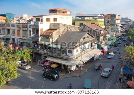 PHNOM PENH, CAMBODIA - JANUARY 2015:  Clear day in the city of Phnom Penh, Cambodia - stock photo