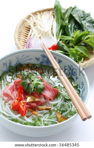 Pho bo , Vietnamese  food , Beef noodle soup with sliced rare beef - stock photo