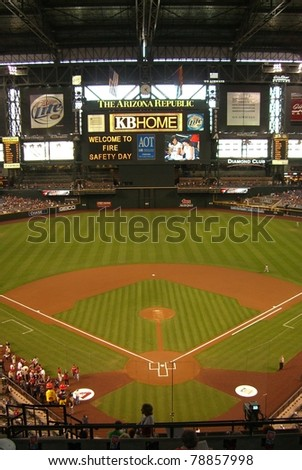 PHOENIX - APRIL 29: Chase Field, home of Diamondbacks on April 29, 2007 in Phoenix, Arizona. Opened in 1998 at a cost of $364 million, it seats 49,033 and will host the upcoming 2011 All-Star Game. - stock photo