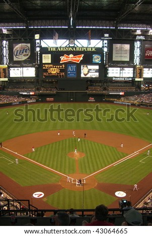 PHOENIX - APRIL 29 : Domed Chase Field in Arizona, during an Arizona Diamondbacks and San Francisco Giants baseball game on April 29, 2007 in Phoenix. - stock photo