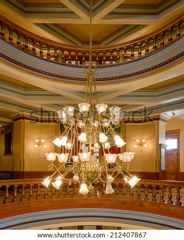 PHOENIX, ARIZONA - AUGUST 6: Chandelier in the Arizona State Capitol building on August 6, 2014 in Phoenix, Arizona on August 6, 2014 - stock photo