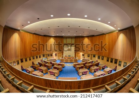 PHOENIX, ARIZONA - AUGUST 6: View from the balcony of the Senate chamber on August 6, 2014 in Phoenix, Arizona - stock photo