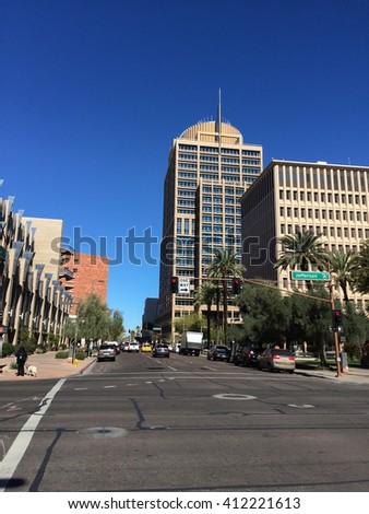 PHOENIX, AZ - FEBRUARY 8, 2016: Skyscraper of Phoenix City Hall as seen from 3rd Avenue and Jefferson Street in Phoenix downtown, Arizona - stock photo