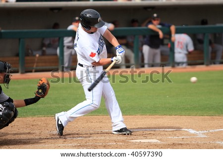 PHOENIX, AZ - NOVEMBER 4: Brad Emaus, rising star in the Toronto Blue Jays' system, plays for the Phoenix Desert Dogs in the Arizona Fall League Nov. 4, 2009 at Phoenix Municipal Stadium, Arizona. - stock photo
