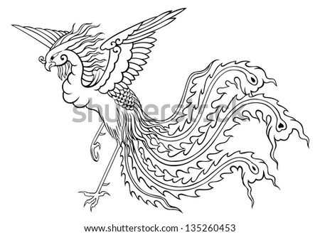 phoenix chinese style on white background for coloring - stock photo