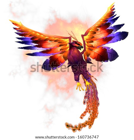 Phoenix Rising - The Phoenix firebird is a mythical symbol of regeneration or renewal of life. - stock photo