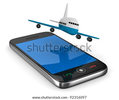 phone and airplane on white background. Isolated 3D image - stock photo