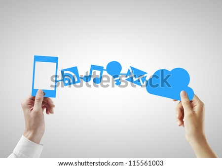 phone and cloud in hands on a white background - stock photo