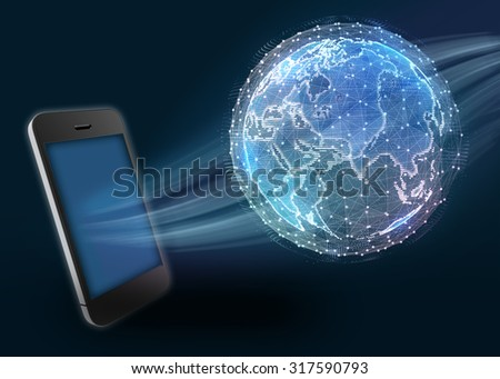 Phone and digital world map of the global telecommunications network. - stock photo