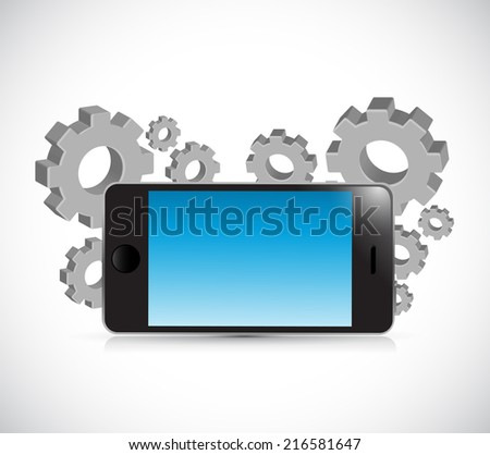 phone and gears illustration design over a white background - stock photo