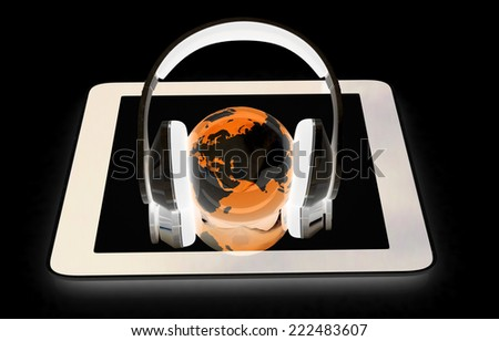 phone and headphones.Global on a black background - stock photo