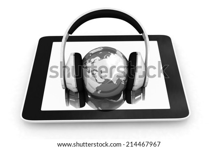 phone and headphones.Global on a white background - stock photo