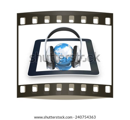 phone and headphones.Global on a white background. The film strip - stock photo