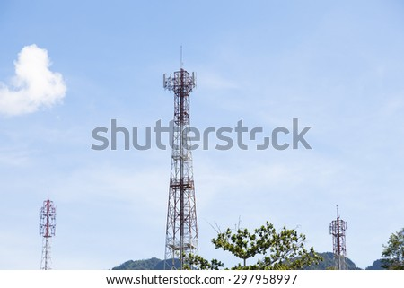 Phone antenna.The transmission poles in the area. Behind the clear skies - stock photo