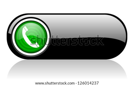 phone black and green web icon on white background - stock photo