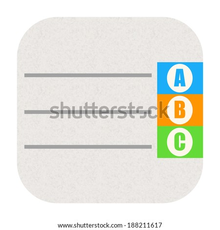 Phone book icon with alphabet letters - stock photo