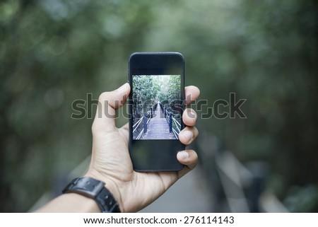Phone Camera on nature  - stock photo