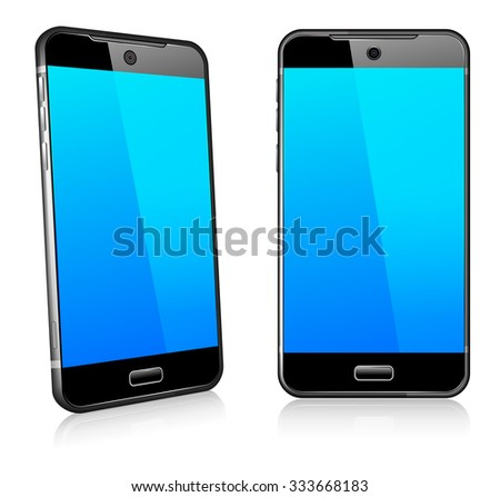 Phone Cell Smart Mobile 3D and 2D - Raster Version - stock photo