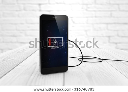 Phone charging digitally generated. All screen graphics are made up. - stock photo