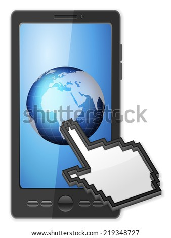 Phone, cursor and globe on a white background. - stock photo