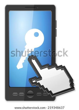 Phone, cursor and key symbol on a white background. - stock photo