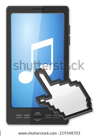 Phone, cursor and music symbol on a white background. - stock photo