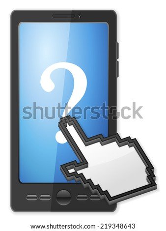 Phone, cursor and question symbol on a white background. - stock photo
