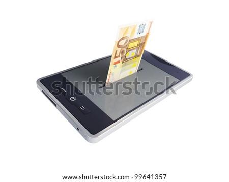 phone euro on a white background - stock photo