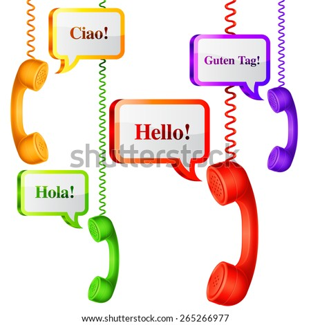 Phone handset with hello speech bubbles in different languages - stock photo