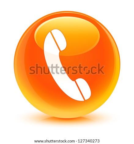 Phone icon glassy orange button - stock photo