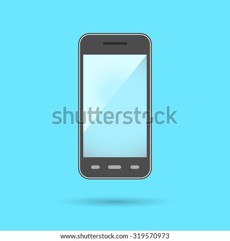 Phone Icon Symbol. Flat Design collection. Huge screen on frontal side of phone. Modern communication device with phone, internet browsing, multimedia, video and photo camera functions. - stock photo