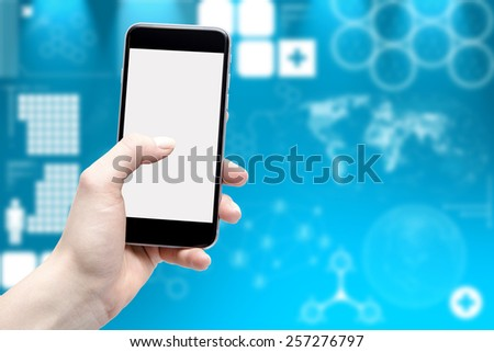Phone in hand and blurred background in medical issues - stock photo