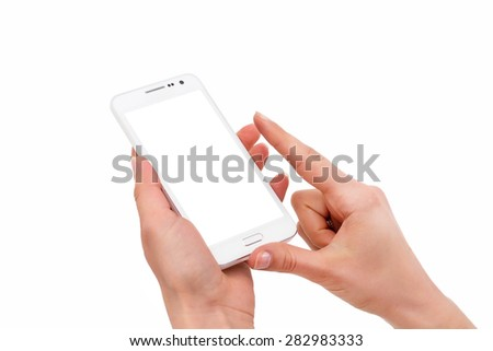 Phone in hand - to work on a smartphone with a blank screen - stock photo