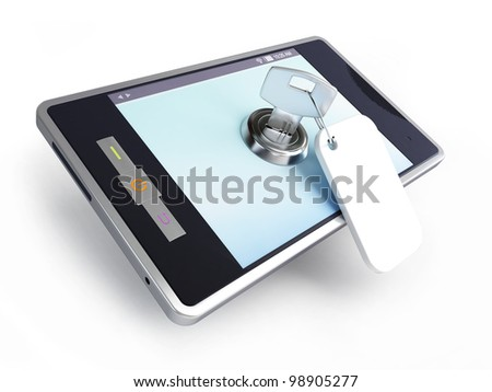 phone is a locked key on a white background - stock photo