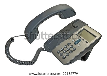 phone isolated on white with handset up - stock photo