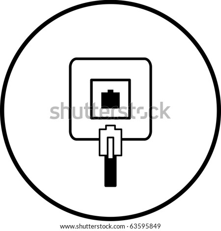 phone jack connection box symbol - stock photo