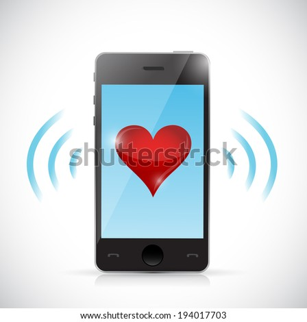 phone love connection illustration design over a white background - stock photo