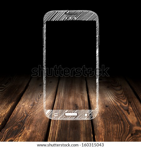 phone on wooden table  - stock photo