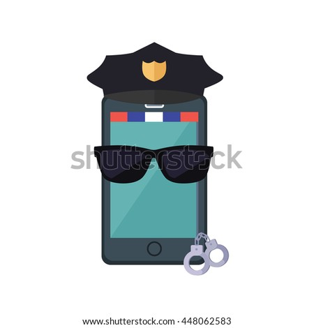 Phone protection design concept. flat style. Smartphone dressed in a police cap in black glasses with handcuffs. Protection of mobile phone and security digital access web,  illustration - stock photo