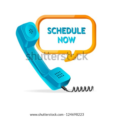 "phone receiver as ""schedule now"" - stock photo"
